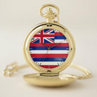 ハワイの旗が付いている愛国心が強い壊中時計 ポケットウォッチ