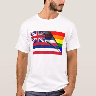 ハワイの旗のゲイプライドの虹 Tシャツ