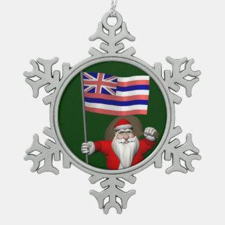 ハワイの旗を持つサンタクロース スノーフレークピューターオーナメント