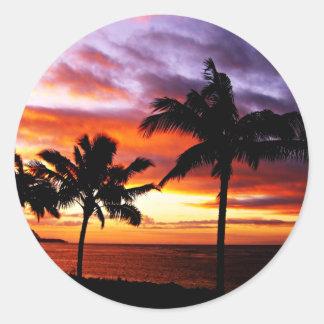 ハワイの日没のステッカー 丸形シール・ステッカー