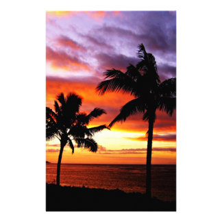 ハワイの日没の文房具 便箋