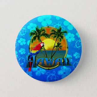 ハワイの日没の青Honu 缶バッジ