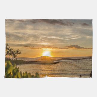 ハワイの日没 キッチンタオル