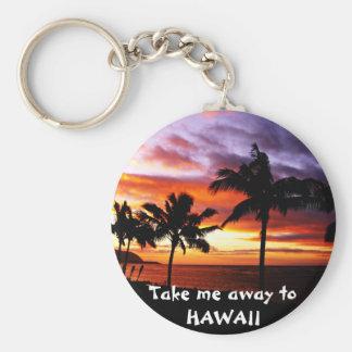 ハワイの日没Keychain ベーシック丸型缶キーホルダー