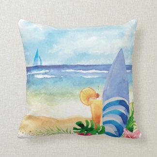ハワイの波の休暇-水彩画の芸術 クッション