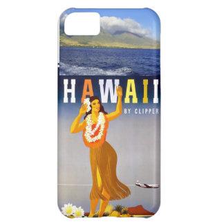 ハワイの海岸線の写真及びヴィンテージのフラの芸術 iPhone5Cケース