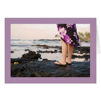 ハワイの溶岩の石のブランクの挨拶状の大きい島 カード