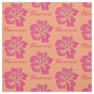 ハワイの熱帯ピンクのハイビスカスの花のハワイアン ファブリック