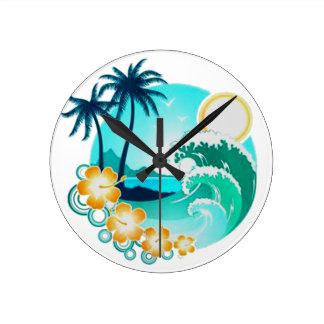 ハワイの熱帯波の芸術 ラウンド壁時計