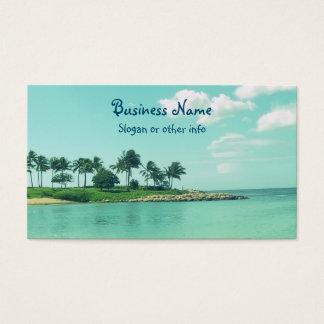 ハワイの穏やかな、落ち着いたターコイズのビーチ 名刺