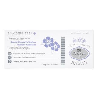 ハワイの結婚式招待状への搭乗券 カード