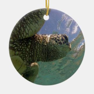ハワイの緑のウミガメ セラミックオーナメント