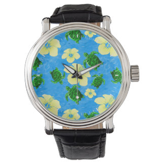 ハワイの緑のウミガメ 腕時計