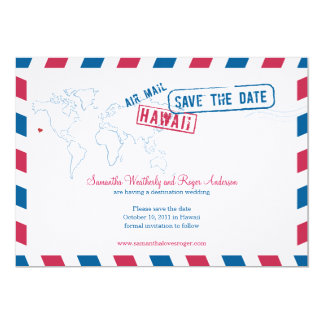 ハワイの航空便の結婚式の保存日付 カード