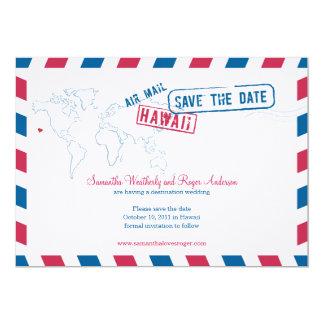 ハワイの航空便の結婚式の保存日付 12.7 X 17.8 インビテーションカード