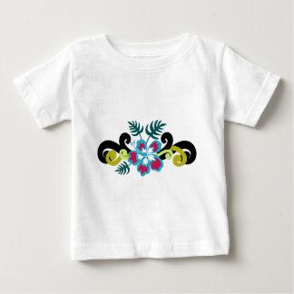 ハワイの花柄 ベビーTシャツ