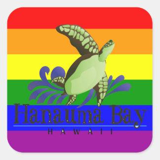 ハワイの虹のカメ スクエアシール