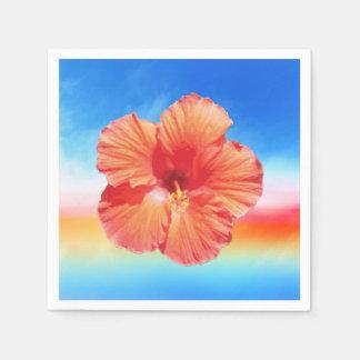 ハワイの虹のハイビスカスの紙ナプキン スタンダードカクテルナプキン