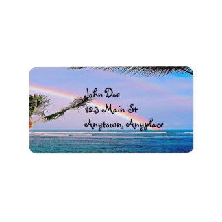 ハワイの虹のビーチの宛名ラベル 宛名ラベル