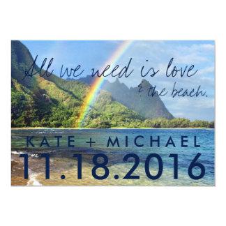 ハワイの虹のビーチは発表結婚式の駆け落ちしました カード