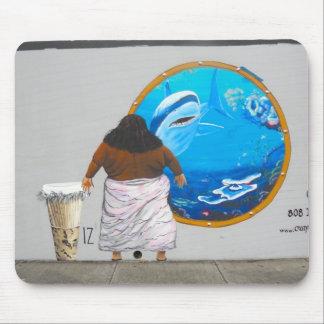 ハワイの通りの芸術の壁画 マウスパッド