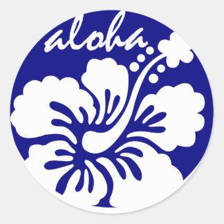 ハワイの青い花 ラウンドシール