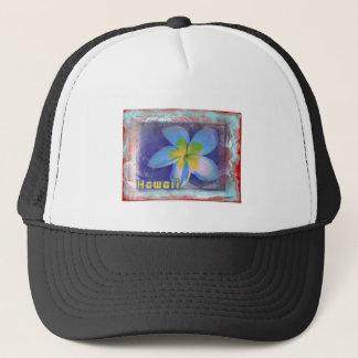 ハワイの青の花柄 キャップ