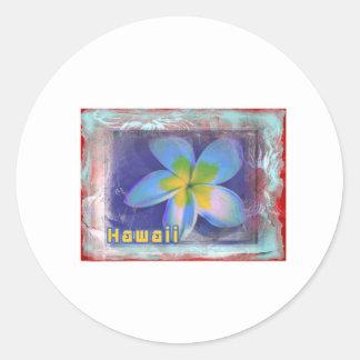 ハワイの青の花柄 ラウンドシール