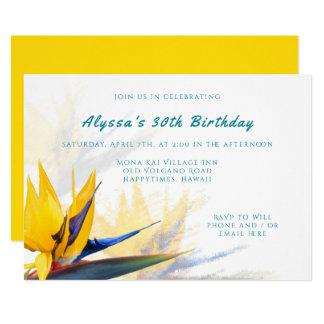 ハワイの鳥の楽園の誕生日のパーティの招待状 カード