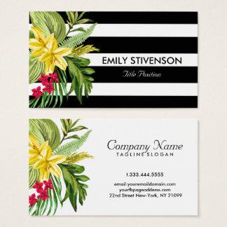 ハワイの黄色い花および白黒のストライプ 名刺