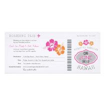 ハワイへの結婚式の搭乗券