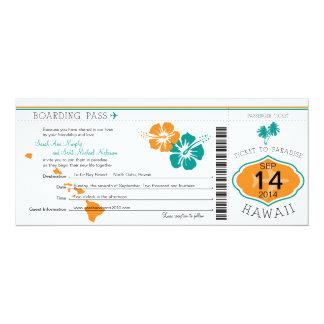 ハワイへの結婚式の搭乗券 カード