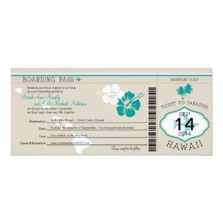 ハワイへの結婚式の搭乗券 10.2 X 23.5 インビテーションカード