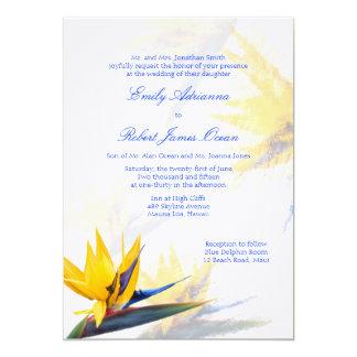 ハワイアンの結婚式招待状極楽鳥 カード