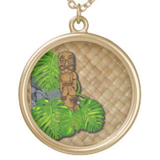 ハワイアンのTiki Lauhalaのネックレス ゴールドプレートネックレス
