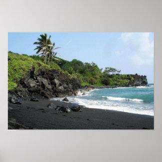 ハワイポスターの火山黒い砂のビーチ ポスター