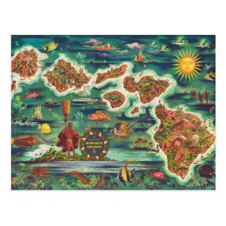 ハワイヨセフFeherの油性ペイントの1950年のドールの地図 ポストカード