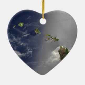 ハワイ諸島衛星眺め セラミックオーナメント