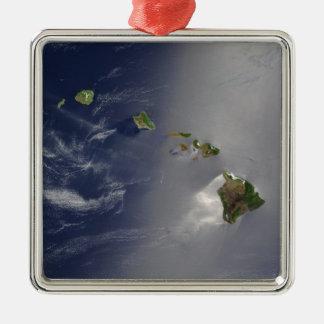 ハワイ諸島衛星眺め メタルオーナメント