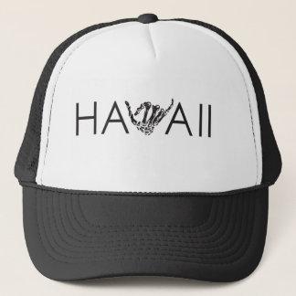 ハワイ骨組Shakaの-黒く及び白いトラック運転手の帽子 キャップ
