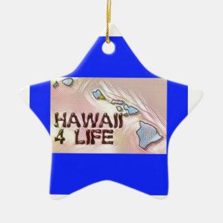 """""""ハワイ4生命""""の州の地図のプライドのデザイン セラミックオーナメント"""