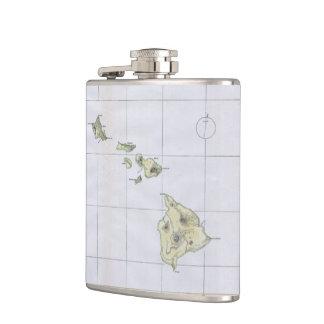 ハワイ(1883年)のヴィンテージの地図 フラスク