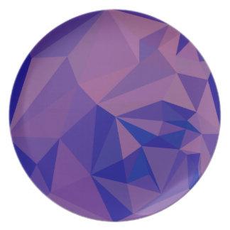 ハンの紫色の抽象芸術の低い多角形の背景 プレート
