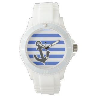 ハンの青い横は縞で飾ります; 航海のないかり 腕時計
