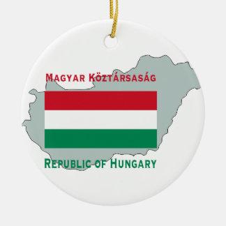 ハンガリーのオーナメントの地図そして旗 セラミックオーナメント