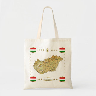 ハンガリーの地図 + 旗のバッグ トートバッグ