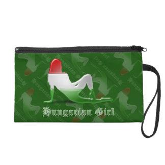 ハンガリーの女の子のシルエットの旗 リストレット