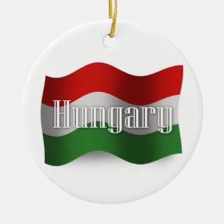 ハンガリーの振る旗 セラミックオーナメント