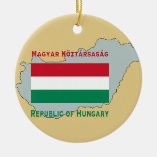 ハンガリーの旗そして地図 セラミックオーナメント