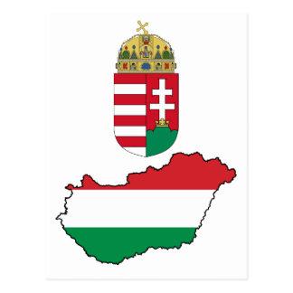 ハンガリーの旗の地図HU ポストカード